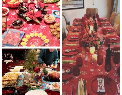 Holiday decorated tables