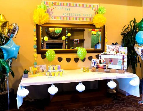 Decorated table at baby shower event